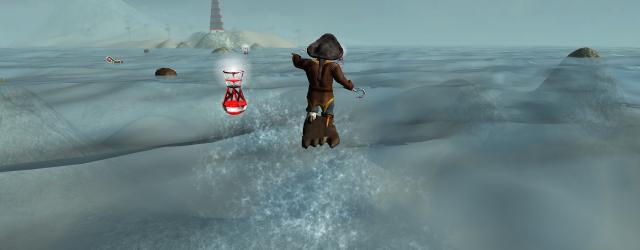 Auf einer mannshohen Videoleinwand dürfen hier virtuell die Wellen geritten werden! Dabei muss der gekenterte Pirat Ryan, der auf einem Wrackteil statt Surfboard unterwegs ist, auf seinem Weg zum rettenden...